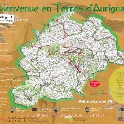 Panneau d'informations touristique, implanté sur plusieurs lieux de la communauté des Terres d'Aurignac